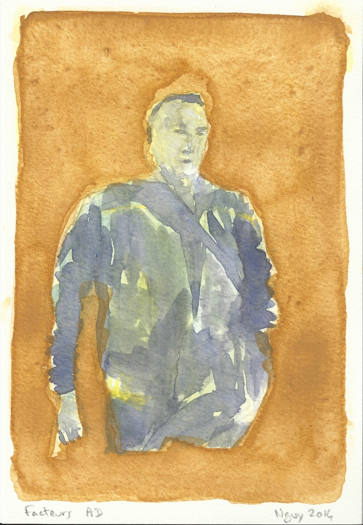 Facteurs AD, aquarelle, 19.5 x 13.5 cm, 2014.