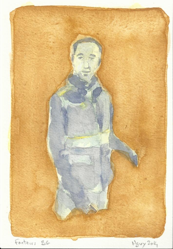 Facteurs BG, aquarelle, 19.5 x 13.5 cm, 2014.