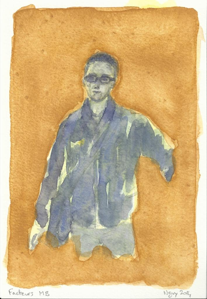 Facteurs MB, aquarelle, 19.5 x 13.5 cm, 2014.