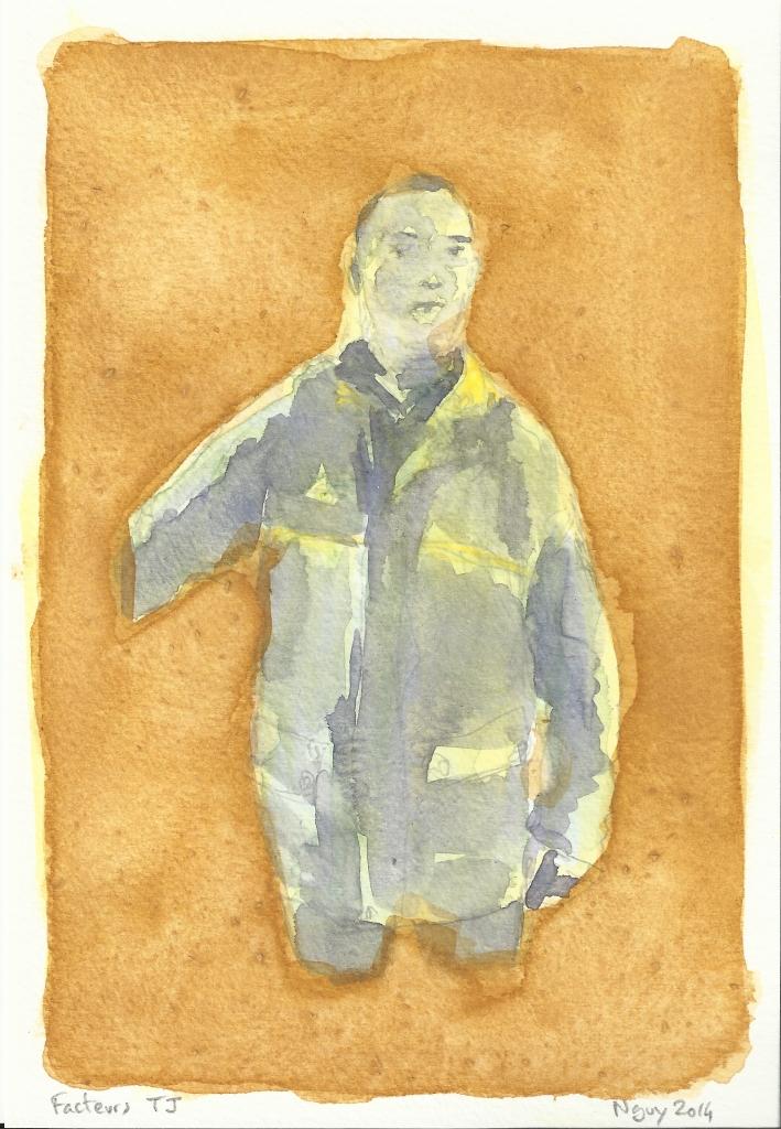 Facteurs TJ, aquarelle, 19.5 x 13.5 cm, 2014.
